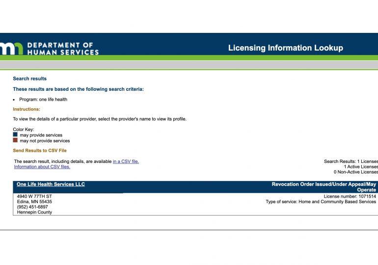 Service provider loses license