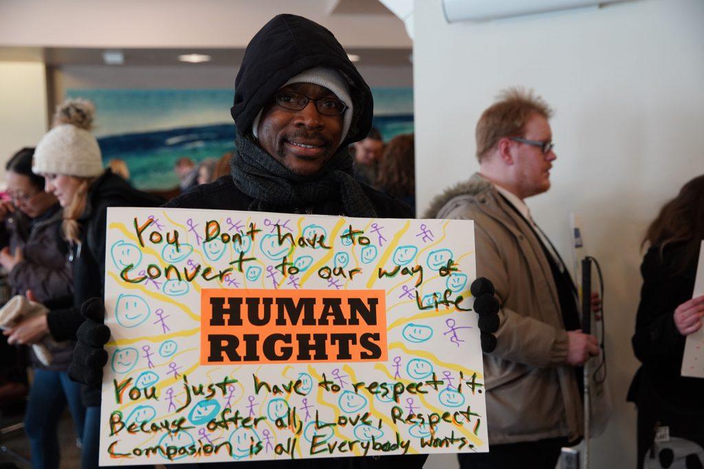 Human rights demonstrator