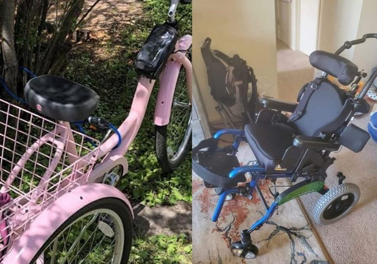 Wheelchair, bike are stolen