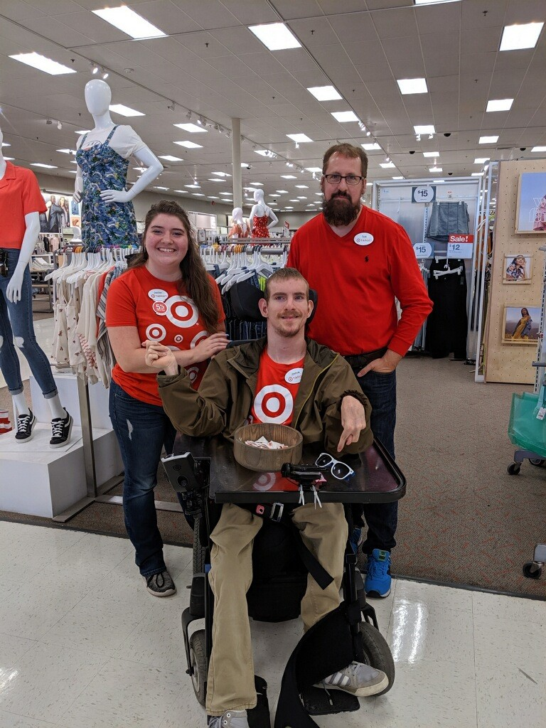 Target employees in red t-shirts