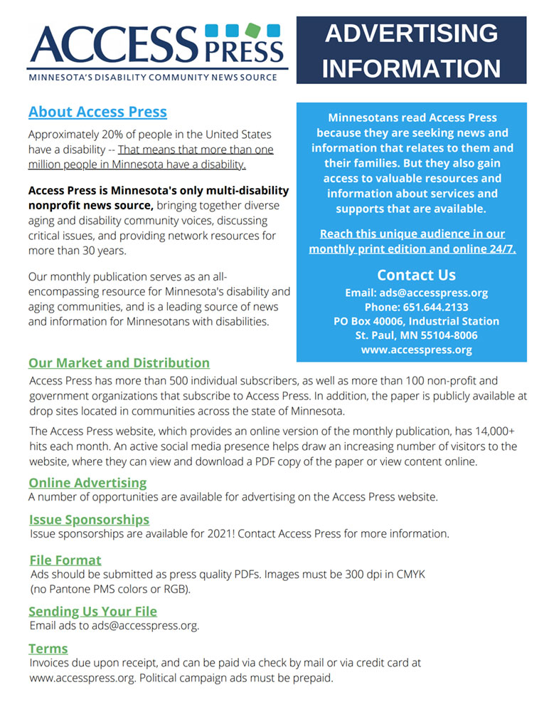 Cover page of Access Press's advertising rate sheet