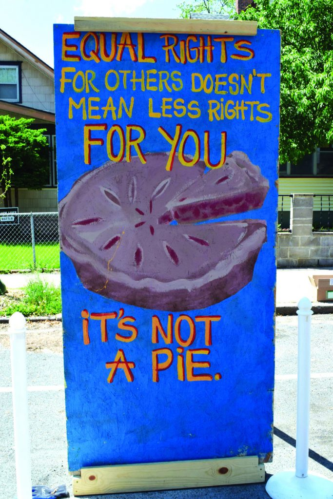 Equal rights for others doesn't mean less rights for you hand made sign