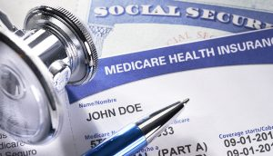 Medicare Health Insurance Card. Social Security Card with Stethoscope